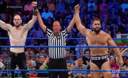 rusev and aiden english - Triple Threat Tag Team Match