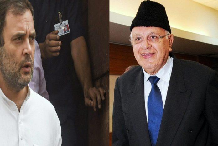 राहुल ने अब्दुल्ला की हिरासत की निंदा की, तत्काल रिहाई की मांग की