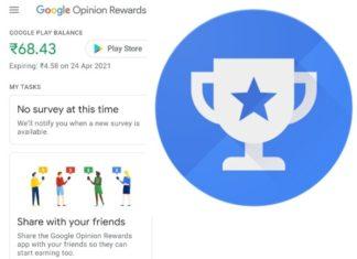 Earn money from google opinion rewards