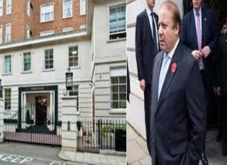 Protesters shouted slogans outside Nawaz Sharif's London