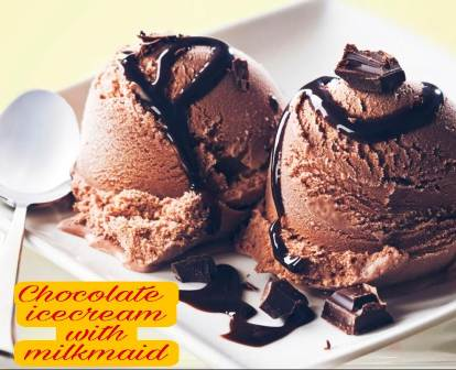 Chocolate ice cream with milkmaid recipe in Hindi